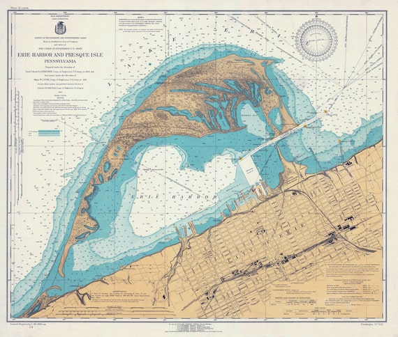 Nautical Map Of Erie Harbor And Presque Isle Lake Erie PA - Lake erie depth map free