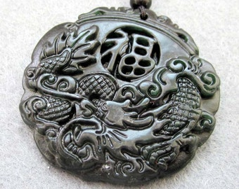 Natural Stone Good Blessing FU Dragon Amulet Pendant 45mm x 45mm  TH075