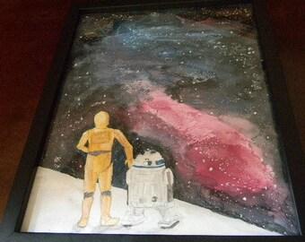 STAR WARS C-3PO R2D2 Original Painting