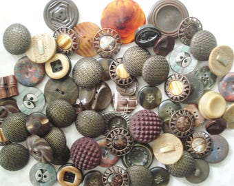 Brown Button Collection - 65 Large Brown and Cream Vintage Buttons - Brown Meta; Buttons - Unique Brown Buttons - Fancy Brown Buttons
