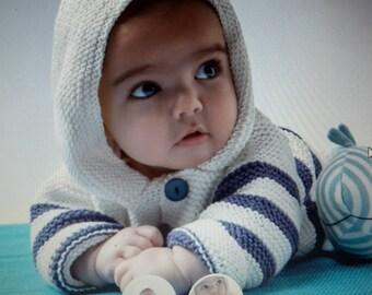 Handmade 11 baby striped hooded coat