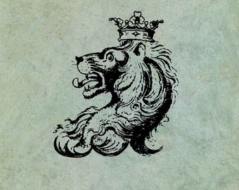 Lion Head Wearing a Crown - Antique Style Clear Stamp
