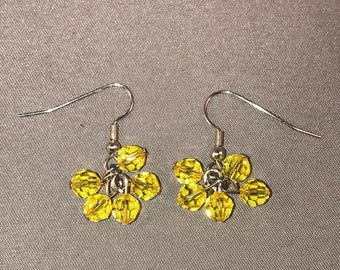 Yellow Swarovski cluster crystal earrings. 036