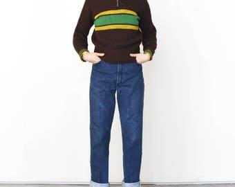 Vintage 1940s Talon bell zipper fold down shawl collar Brown sweater with green yellow stripe zip up turtleneck RRL ski sweater outdoors