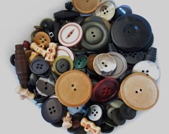 Vintage Button Assortment Mix Earth Tone Bulk Lot 365 Pieces