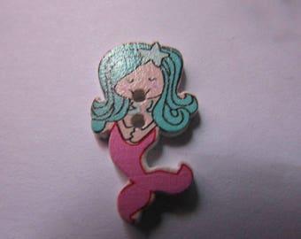 wooden Mermaid 30mmx17mm scrapbooking assorted colors