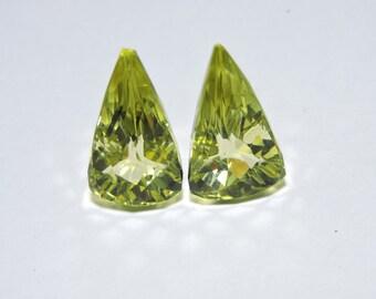 2 Pieces Beautiful Lemon Quartz Faceted Triangular Shaped Loose Gemstone Size 21X11 MM