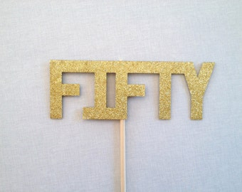 Glitter Fifty 50 Photo Booth Prop - 50th Birthday Photo Booth Props - Birthday Photobooth