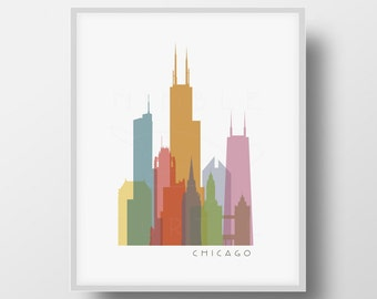 Chicago Skyline Printable Download -  Chicago IL - Buildings  -  Wall Art