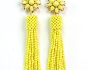 Spring Yellow  Sunflower Tassel Dangle Earrings
