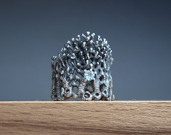 Forest Crown Ring, Large Ring with Topaz, Blue Gem Stone Ring, Forest Scene Jewelry, Landscape Ring, Tree Branches Ring