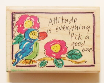 Stampressions Rubber Stamp, Unused, Attitude is Everything Sentiment