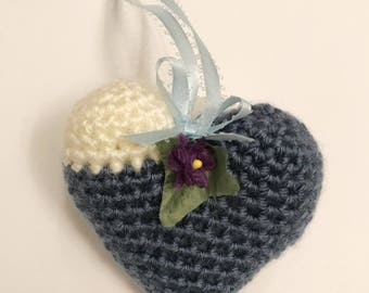 Organic Lavender Sachet, Handmade Lavender Sachet, Crochet Heart Sachet, Blue and Cream Sachet, Sachet, ThinkArtisan, Mother's Day Gift