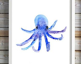 Baby octopus Art - octopus watercolor painting - print - Nursery sea animals - ocean art - octopus painting blue decor