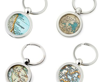 4 Map KeyChains for Everyone  Made to Order Your City Fob Key Ring   Set of Four at a Special Price   Key Rings Holiday Gift for Family
