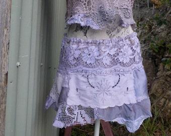 wild child hippy skirt - bohemian mini - vintage lace, embroidery, silk, crochet, s/ m