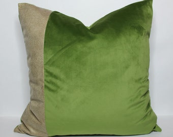apple green velvet pillow cover with tan snakeskin detail - COVER ONLY