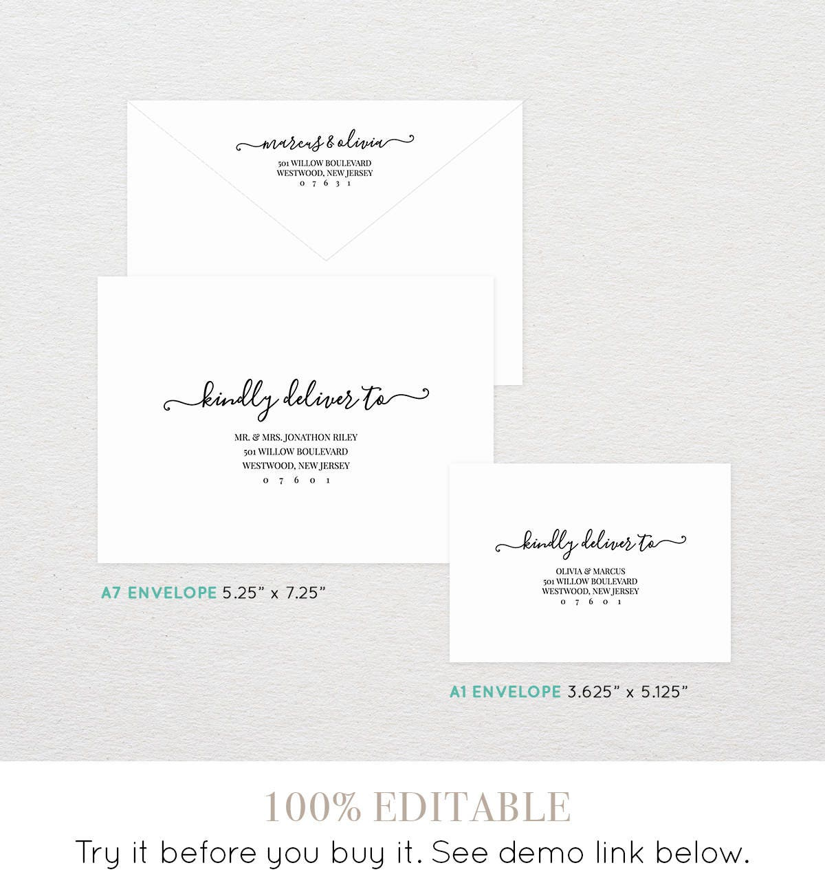 Modern Calligraphy Envelope Template Printable Wedding Envelope - A1 envelope template