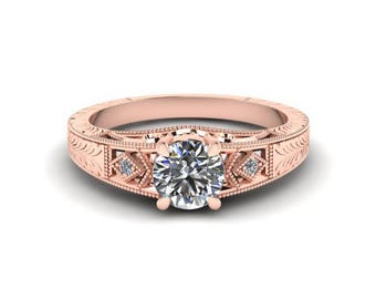 Hand Engraved, Diamond Engagement Ring, Antique Style, 14K Rose Gold