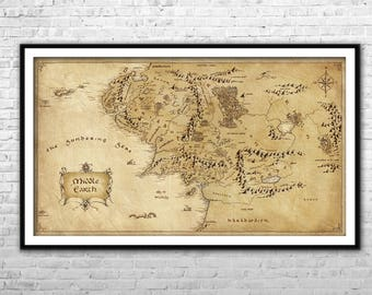 the middle earth map lord of the rings archival paper canvas print lotr wall art home decor multi panel lotr poster thorin map hobbit map
