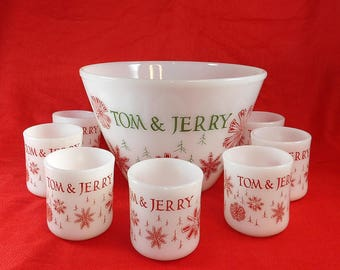 Vintage Fire King Tom and Jerry Christmas Drink Punch Bowl and Mugs