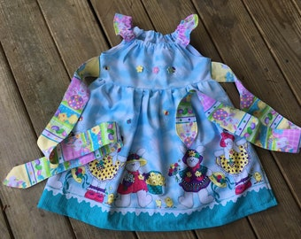 Easter dress 3T,4T, 5T with bunnies USA cotton