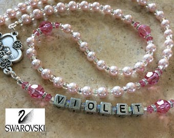 Pink Pearl Rosary, Baby Girl Baptism Rosary, Swarovski Rosary, Girl's First Communion Rosary, Catholic Girl's Personalized Rosary