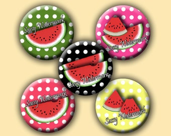 Watermelons 1 Inch Circles for Bottle Cap Art