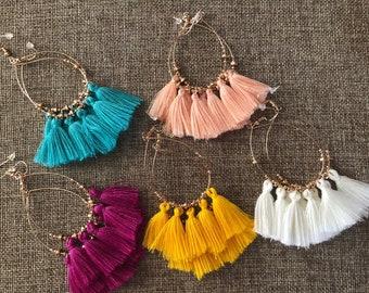 Tassel Earrings // Fringe Earrings // Boho Jewelry // Bohemian Jewelry // Delicate // Bridesmaid // Dangle Earrings // Tassel // Giftsforher