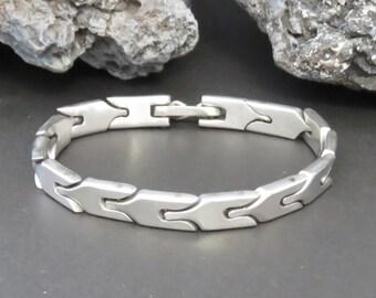 Sterling silver link bracelet, man's bracelet, signed Versani, vintage, marked 925, men's, 34.8 grams