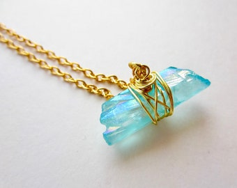 Metallic Teal Quartz Point Necklace Long Crystal Point Pendant Necklace Layering Necklace Boho Jewelry Wire Wrapped Jewelry Handmade
