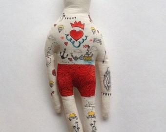 Large Handmade Nautical Art Doll with Painted Blue Hair, Mustache and Vintage Sailor Inspired Tattoos OOAK- made to order soft sculpture