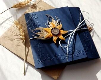 Handmade sunflower wedding invitation/Sunflower and wheat invite/Handmade navy blue wedding invitation/Country invitation/Rustic invitations