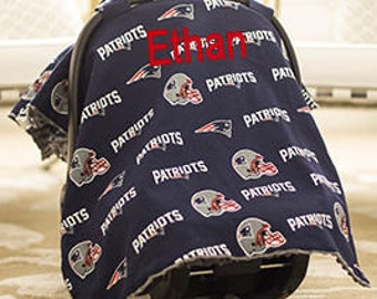 Patriots Baby Car Seat Canopy Baby Car Seat Cover Patriots Minky Blanket Personalized blanket Custom Baby Shower Gift Patriots Blanket