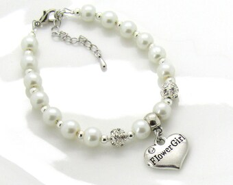 Flower girl bracelet with charm• will you be my flower girl• asking flower girl• wedding jewelry• flower girl pearl bracelet• wedding kids