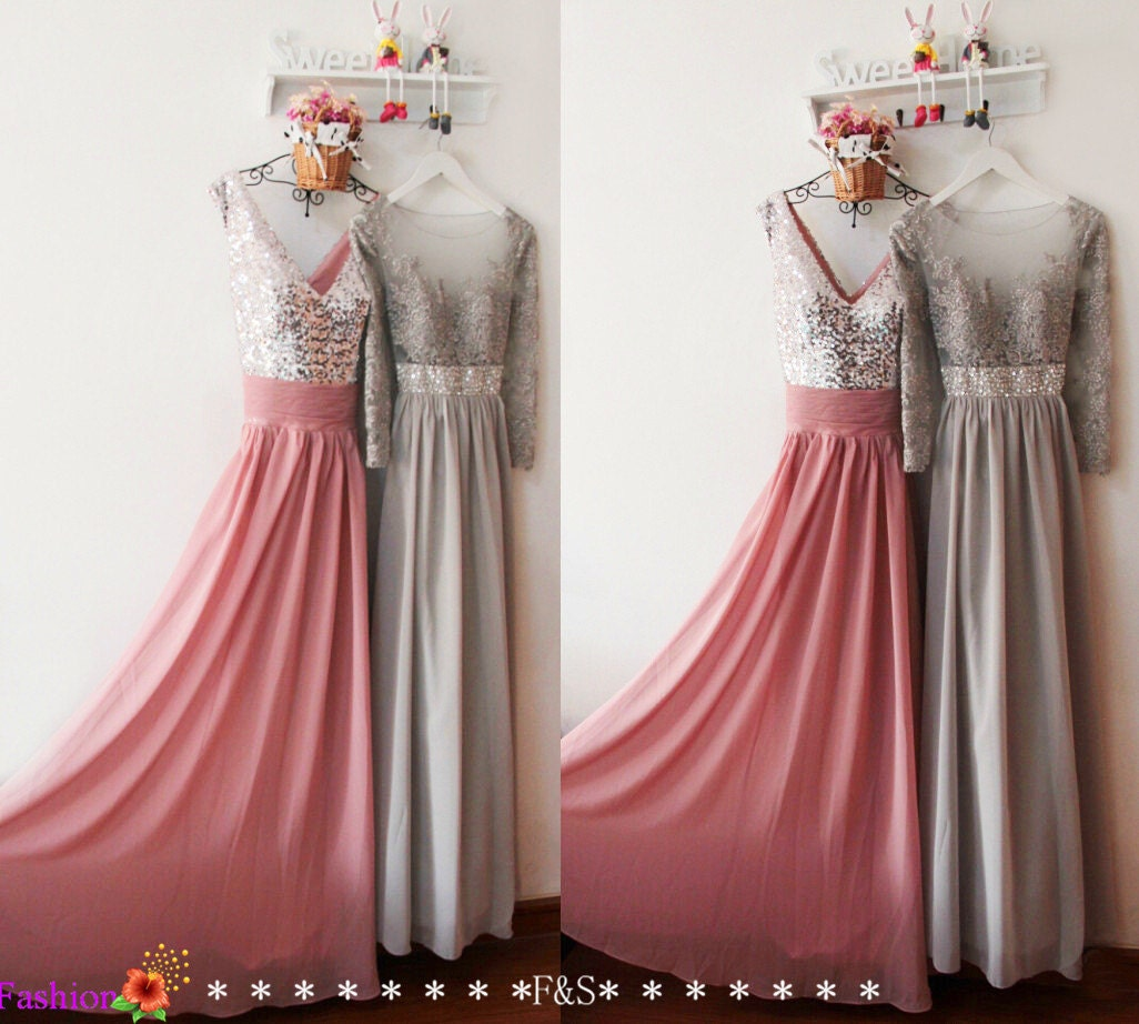 Long Sleeve Lace Prom DressSexy Dusty Pink Bridesmaid