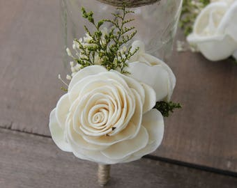 Groom Boutonniere, Ivory Sola Flower Boutonniere, Ivory Wedding Boutonniere, Chic Flower Boutonniere, Dried Flower Boutonniere, Sola Flowers