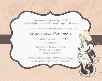 Disney Themed Bridal Shower Invitations