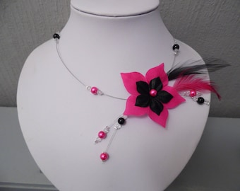 Necklace black/fuchsia silk flower pearls bridal feather wedding holiday party