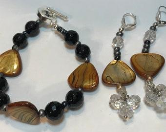 Brown Flat Shell Black Bracelet Jewelry Set Women's Gift