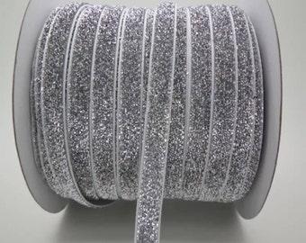 "3/8"" Silver/Grey Velvet Sparkle Ribbon by the Yard   K67"