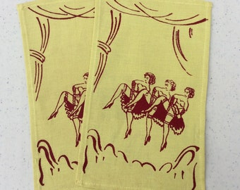 Vintage Cocktail Napkins Pair Can Can Girls Risque Cloth Napkins Retro