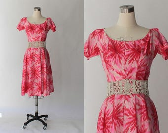 1950s Printed Silk Party Dress // Vintage 50s Full Skirt Short Sleeve Multi Color Semi Formal Dress // Gigi Young // Small
