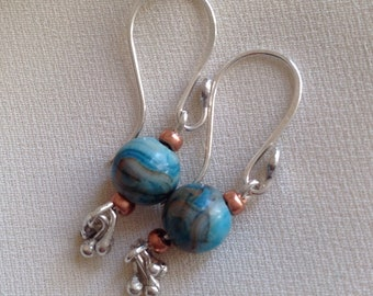 Turquoise agate dangle bead eattings in sterling silver