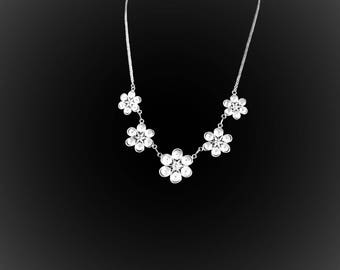 Embroidered Silver Flower necklace