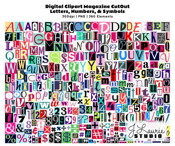 Digital magazine cutout alphabet ransom note letters numbers clipart digital magazine cutout alphabet ransom note letters numbers clipart alphas scrapbook greeting cards invitations instant download clip art from spiritdancerdesigns Images