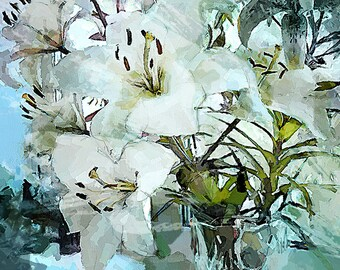 White lilies, painting flowers, oil painting lilies, digital oil painting, wedding gift, gift for women, gift for mom, decor wall Art, lilys