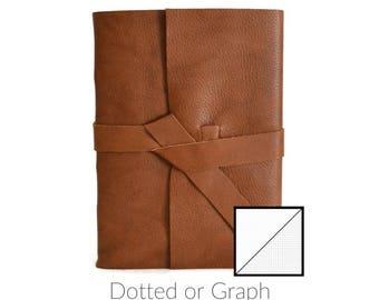 Bullet Journal Notebook Dot Grid or Graph Grid, Customized Bullet Journal Leather Cover, Bullet Journal Grid, Bullet Journal Dotted, Cognac