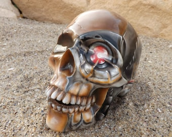 Unique Handpainted Handmade  Airbrushed Ceramic Tattoo Ink Robot Biomechanical Mexico Decoration Day of the Dead Sugar Skull MADE TO ORDER