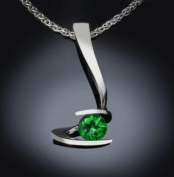 green topaz necklace, statement necklace, Argentium silver,  tension set, designer jewelry, artisan necklace - 3479